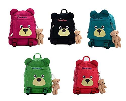 とっても かわいい キッズ クマさん リュックサック クマのぬいぐるみセット☆ アウトドア キャンプ 遠足 バッグ ボーイズ ガールズ (ワインレッド)