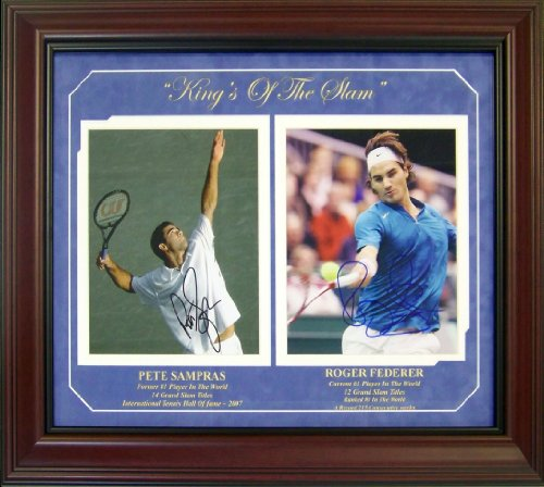 Pete Sampras and Roger Federer Autographed Photo Collage - Framed - Autographed Tennis Collages