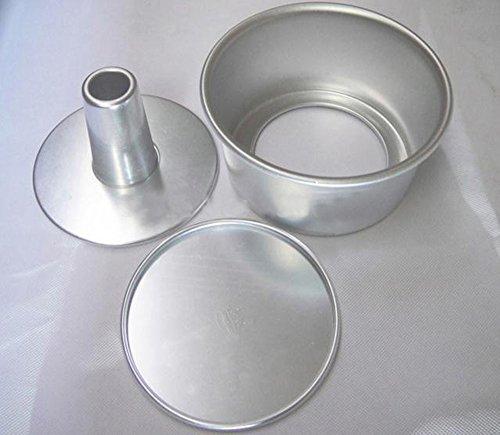 dealglad® 6 pouces en alliage d'aluminium rond creux en mousseline de soie Moule à gâteau Angel Food Moule à gâteau avec fond amovible