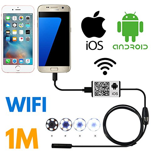 SanSiDo Endoscope Wifi Wireless iOS iPhone Android Borescope Endoscope Camera 2.0 Megapixels HD 6 Leds 9mm 720P IP66 Tube Waterproof Snake Inspection Camera for iPhone Samsung Smartphone - 1M (Mini Microscope For Iphone compare prices)