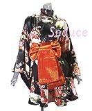 ドレス着物ドレスミニドレス和柄コスプレ豪華舞台ドレス衣装カラオケガウンバスローブ海外土産ブラック・ホワイト・ブルー・レッドSeduce20080144 (ブラック)