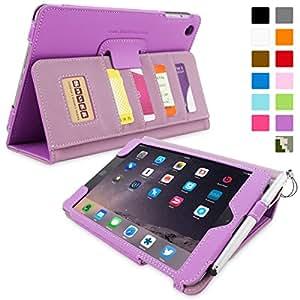 Snugg™ - Étui Professionnel Pour iPad Mini & iPad Mini 2 - Smart Case Avec Compartiment Pour Cartes Et Une Garantie à Vie (En Cuir Violet) Pour Apple iPad Mini & iPad Mini 2