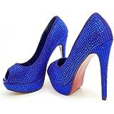 ROSELIGHT Crystal Peep Toes in Schwarz Rot Blau Türkis Gold Violette mit Rosa Sohle