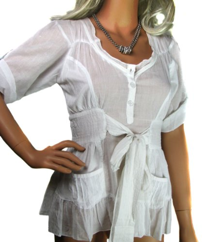 Ladies Pure White Cotton Short Sleeve Tie Blouse