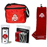 Ohio State Buckeyes Golf Accessories Gift Set Includes Golf Balls, Tees And Towel In Insulated 6-Pack Cooler Bag...