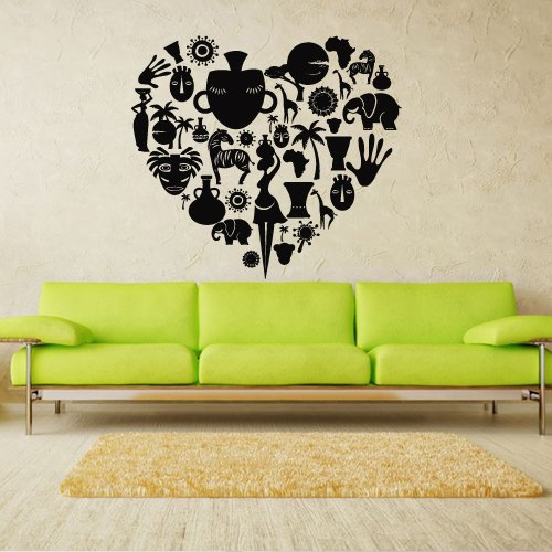 Wall Decal Art Decor Decals Sticker Africa Poster Heart Geography Culture Woman Animals Bowl Sun Palm (M193) front-989859