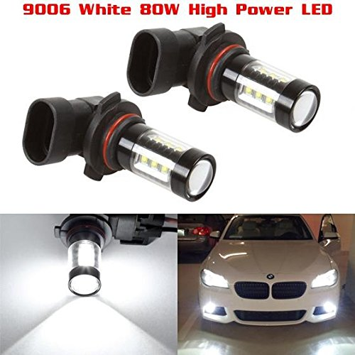 Partsam Cost-effective Pack2 9006 HB4 80W White 6000K Fog Light Driving Lamp made by High Power Epistar LED w/ in-bulit IC Control and Black Auminum Alloy (9006 Fog Lights compare prices)