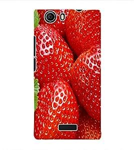 Fuson 3D Printed Strawberry Wallpaper Designer Back Case Cover for Micromax Canvas Nitro 2 E311 - D810