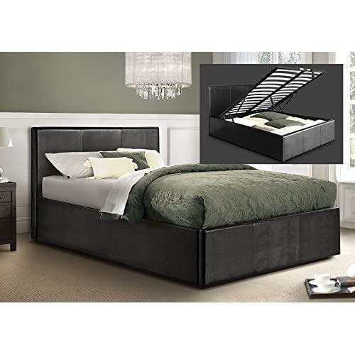 Otto-Garrison Oversized Ottoman Kingsize Storage Bed Upholstered in Faux Leather, 5 ft, Black