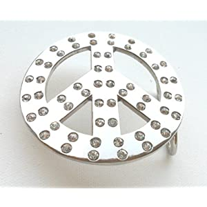 Peace Sign Symbol with Rhinestones & Bling Belt Buckle