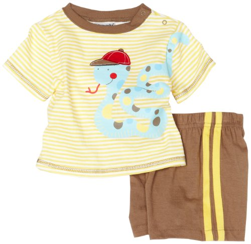 Babyworks Baby-boys Infant Snake Applique Short Set, Brown, 24 Months