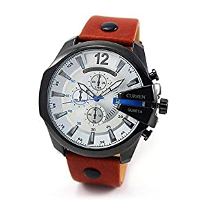 Outtop Curren® 8176 WaterproofDate Display Quartz Alloy Wristwatch with Leather Strap,53mm Dial,Brown
