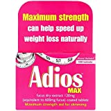 Adios Max Maximum Strength Weight Loss Tablets - 100 Tablets