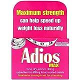 Adios Max Maximum Strength Weight Loss Tablets - 100 Tablets
