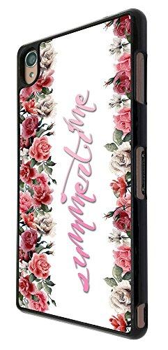 302 - Shabby Chic Floral Roses Summer Time Design für Alle Sony Xperia Z / Sony Xperia Z1 / Sony Xperia Z2 / Sony Xperia Z3 / Sony Xperia Z4 / Sony Xperia Z1 Compact / Sony Xperia Z2 Compact / Sony Xperia Z3 Compact / Sony Xperia Z4 Compact / Sony Xperia M2 / Sony Xperia M4 Fashion Trend Hülle Schutzhülle Case Cover Metall und Kunststoff - Bitte wählen Sie Ihr Telefonmodell und Farbe aus der Dropbox