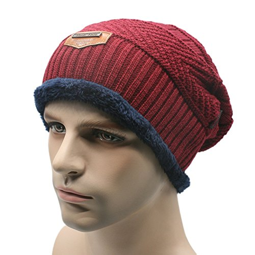 Hengzhi Men's Warm Hats Winter Lined Soft Kniting Thick Caps Cool Skull Outdoor (Skull Cap Pattern Sewing compare prices)