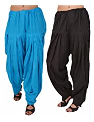 Pistaa Combo Offer Women Readymade Black And Ferozi Blue Full Patiala Pant For Girls
