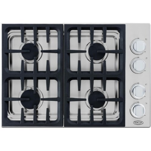 DCS CDU304L 30 Gas Cooktop with 4 Sealed Dual Flow Burners, Continuous Grates - Stainless Steel