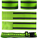 Premium Reflective Ankle Band & Belt Set (4 Bands + 1 Waist Belt). High Visibility Reflective Running Gear. Use...