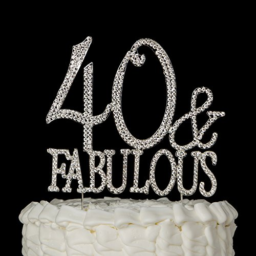 40 fabulous cake topper for 40th birthday silver metal for 40th birthday cake decoration