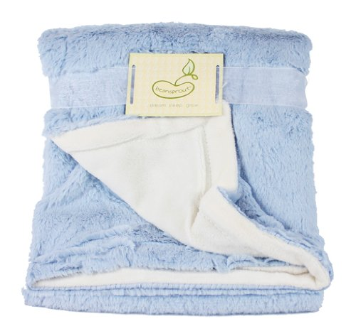 Beansprout Luxe Mink to Micro Mink Crib Throw Blanket, Blue (Discontinued by Manufacturer)
