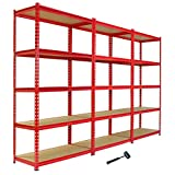 Panana 3 x 1.8m Warehouse 5 Tier Racking Shelf Heavy Duty Steel Garage Shelving Unit 180x90x40cm Red