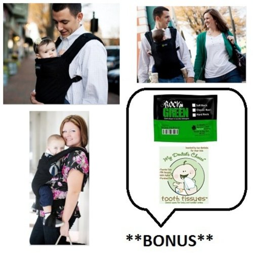 Boba Baby Carrier 3G (Color: Montenegro/Black) with **BONUS** Samples of Rockin Green Soap/Detergent and Tooth Tissues!