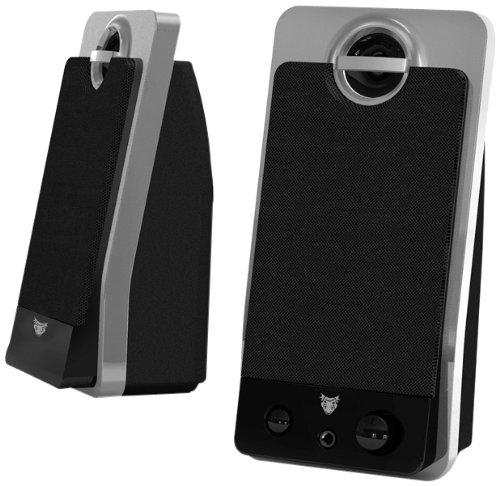 bazoo Mara 100 Stereo Lautsprecher 140W PMPO mit Kopfhörerausgang an der Front und 3,55 mm Klinkenanschluss, schwarz