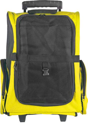 Yellow Airline Approved Travel Pet Backpack & Carrier With Wheels front-1027731