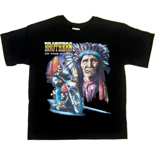 Youth T-Shirt : Black - Small - Brothers In The Wind - Native American Biker