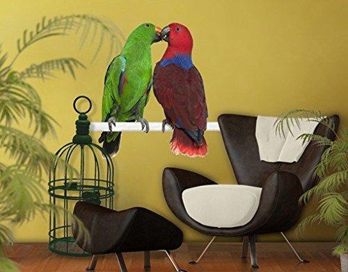Adesivo da parete n. 645Parrots In Love, adesivo da parete, adesivi da parete, tatuaggi, adesivi da parete, 126x122 cm