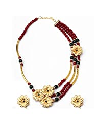Aarya 24kt Gold Foil Flower Necklace Set With Golden Piping For Women
