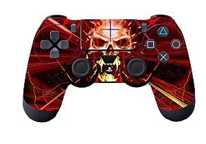 Glossy Designer Skin Sticker for Playstation 4 Remote Controller - Skull Dark Red