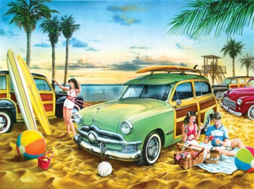 Jigsaw-Puzzle-Collectible-Tin-500-Pieces-13X19-Classics-Beach-Wagon-Party