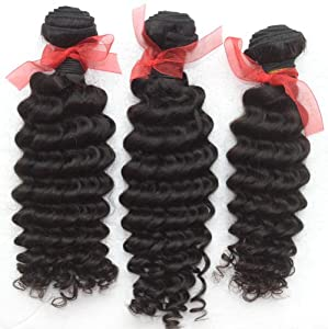 Best-Buy-Box Rose Hair 3 Bundles/ Lot Original Raw Virgin Hair Extension; Malaysian Remy Weft Weaving Hair; Natural Curly Deep Wavy; 300gram 12-30 Inch 1b Black (22 22 24)