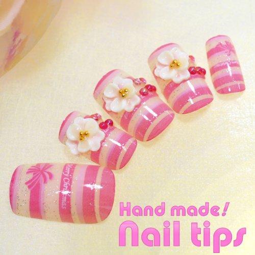 ハンドメイド南国系ネイルチップピンクの ストライプ&3Dフラワーお花 手づくり3Dネイルチップ