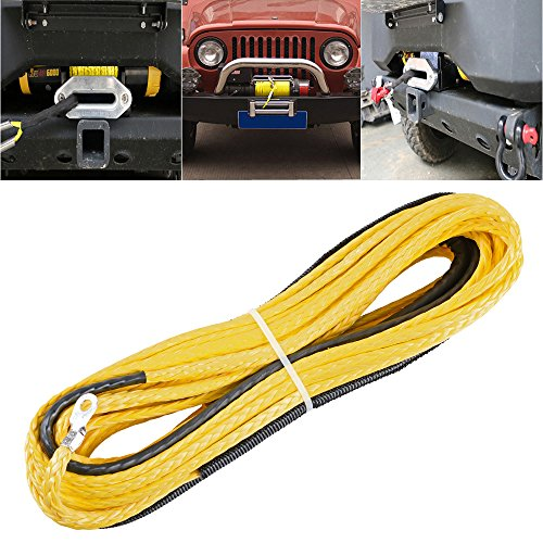 50ft-x-14-6400-LBs-Yellow-Synthetic-Fiber-Synthetic-Winch-Rope-Cable-for-UTV-SUV-Jeep-Recovery