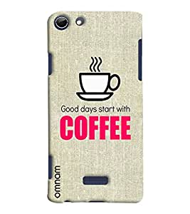 Omnam Good Day Start With Coffe Printed Designer Back Cover Case For Micromax Selfie 3