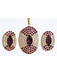Purple And White Stone Studded Round Shaped Pendant And Earrings - Stone And Metal