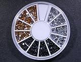 Nail Art Rhinestones 1800 Premium Round Gems:::Silver / Black / Gold 2mm in Wheel With Bonus