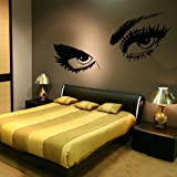 Giant Eyes - Girls Wall Transfer / Large Art Wall Vinyl / Girl Wall Sticker RA37