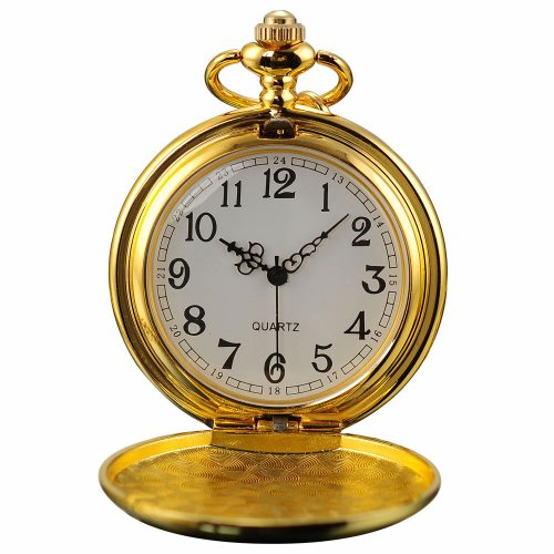 AMPM24 Vintage Golden Mens Women Ladies Quartz Pendent Pocket Watch Clock Chain Gift