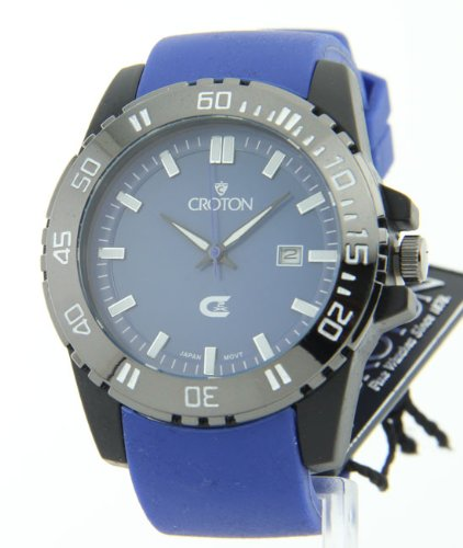 Croton Mens Sports Quartz Date Blue Rubber Strap and Dial Watch CX328010BUBL
