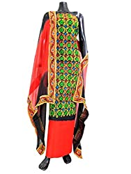 GiftPiper Unstitched Phulkari Salwar Suit with Champa Jaal- Black&Red