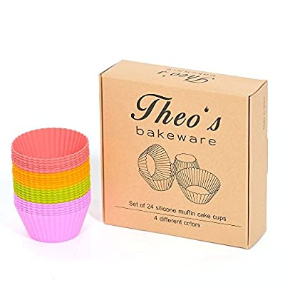 Theo's Bakeware Silicone Baking Muffin Cups - Round Shape Cupcake Molds - Pack of 24/4 Colors Reusable & Nonstick Liners Set