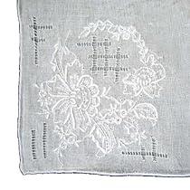 White Floral Emblem Handkerchief