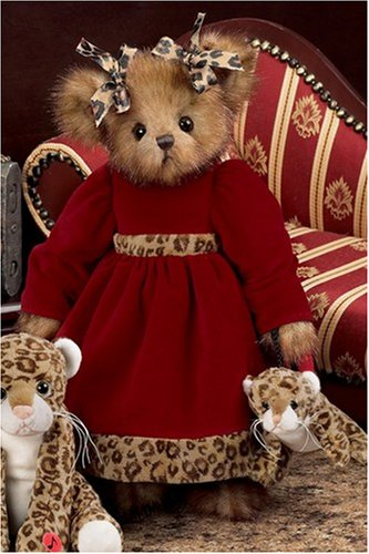 Leah and Leopold 14'' Christmas Dressed Stuffed Teddy Bear with Leopard Purse by Bearington