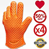 ♛ FOUR GLOVES - SUPERIOR Silicone BBQ Gloves ★ Buy 2 get 2 EXTRA for FREE ♛ Extreme Water and Heat Resistant Cooking Gloves, Grill Gloves, Potholders ★ Directly Handle Hot Food, Use As Grilling Gloves, Oven Gloves In The Kitchen Or At The Campsite! ★ Prot