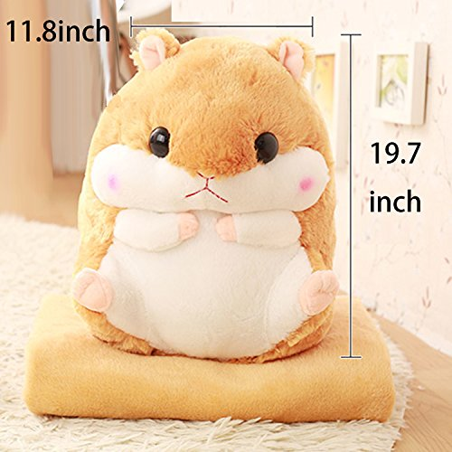 YJMO 2 in 1 Cute Comfortable Hamster Throw Pillow Cushion&Blanket Plush Toy for Adults Baby (Brown)