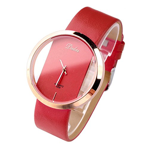 Top Plaza 1Pc Womens Girls Analog Casual Quartz Watch With Rose Gold Case - Red